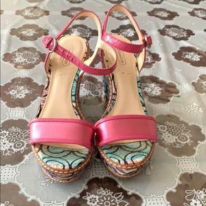 Coach Stiletto Wedge Sandals, Vibrant Multicolored